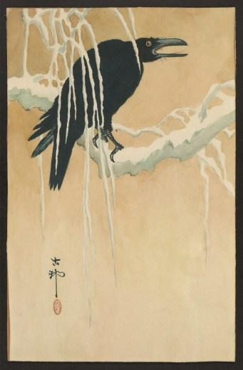 Title: Yuki yanagi ni karasu (Blackbird in snow)