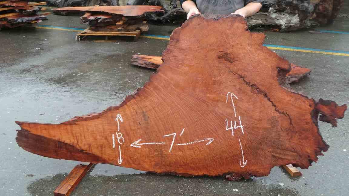 Live Edge Wood Slab Desk - Redwood Burl Slab for Crafting Redwood Desk