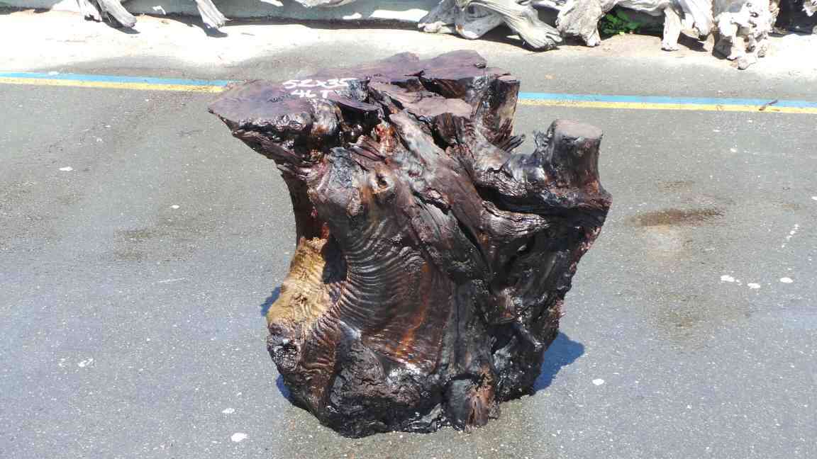 Tall Stump Table Base - Rustic Mineral Stain Mount