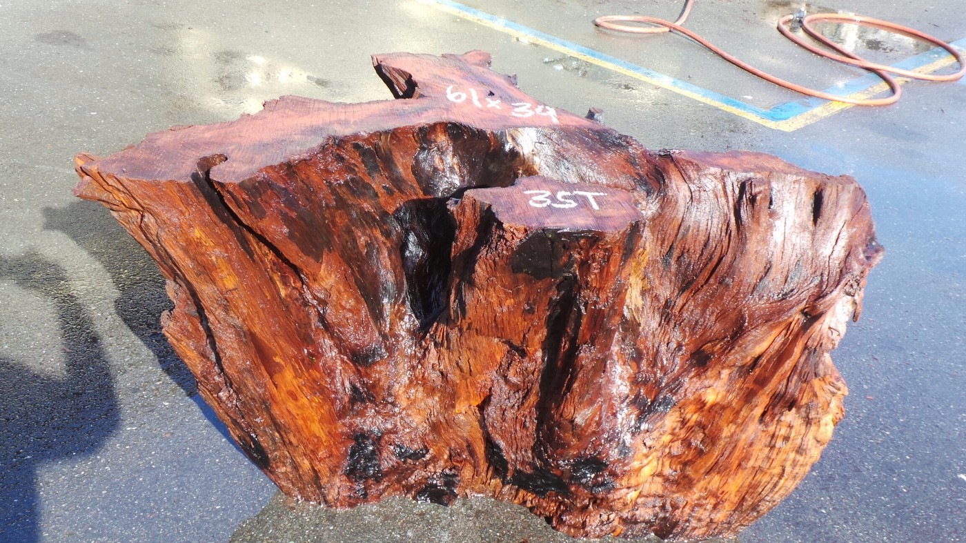 Rustic Wood Table Base - Redwood Stump Tree Base
