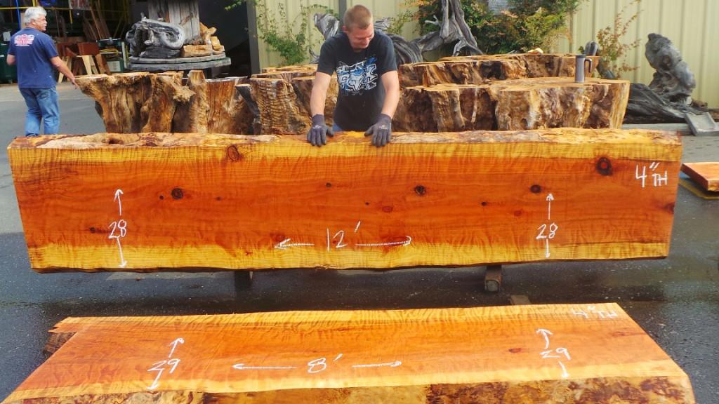 Raw Edge Wood Countertops - Redwood Slabs and Burls for Furniture