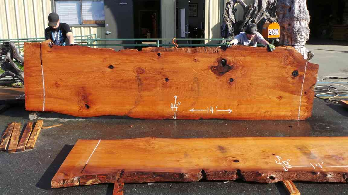 Unique Redwood Irregular Live Edge Slab