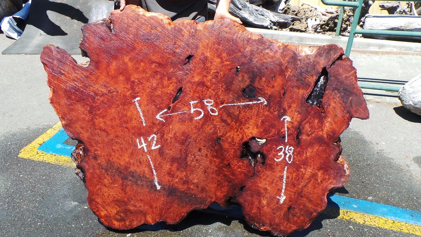 Genuine Redwood Color Old Growth Slab