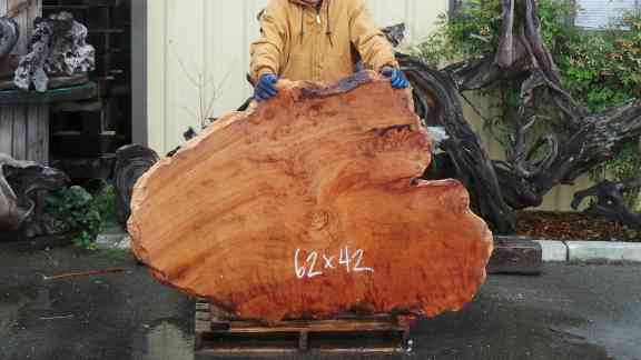 Burl Grain Redwood Live Edge Coffee Table
