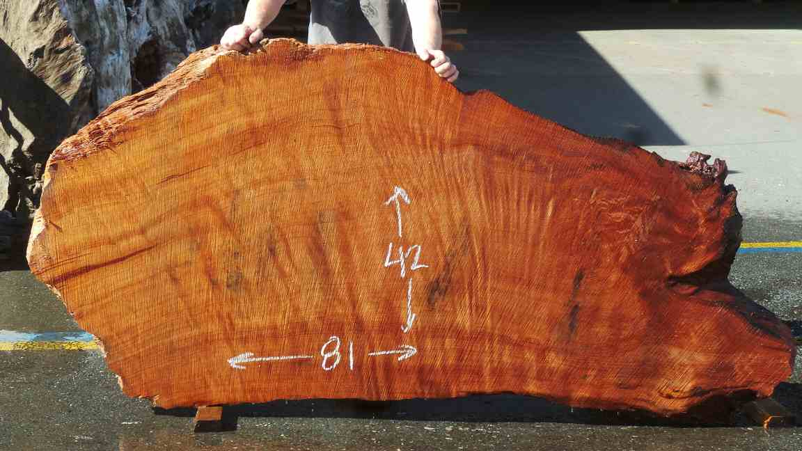 Abstract Redwood Slab - Curl Grain and Shape for Executive Office Desk