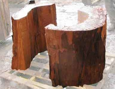 half-moon table bases perfect for a redwood dining table