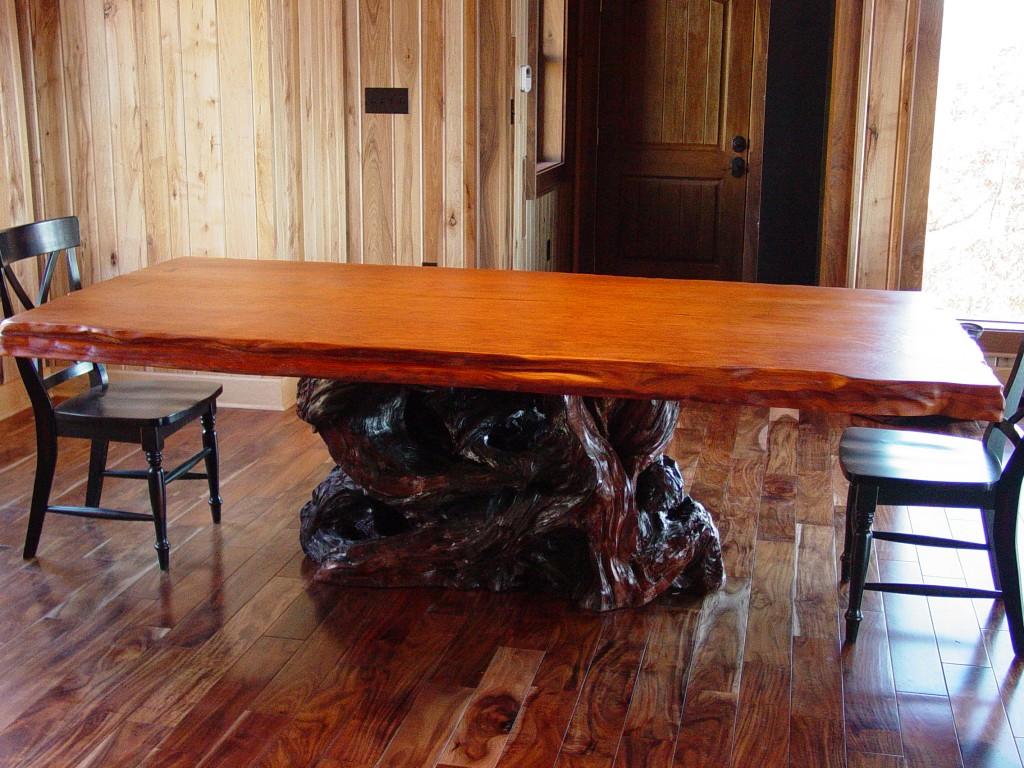 Redwood burl dining table on redwood base