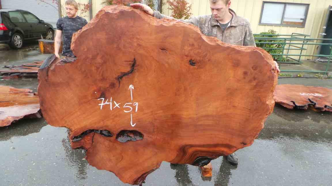 Elegant and Smooth Shape Redwood for Slab Table
