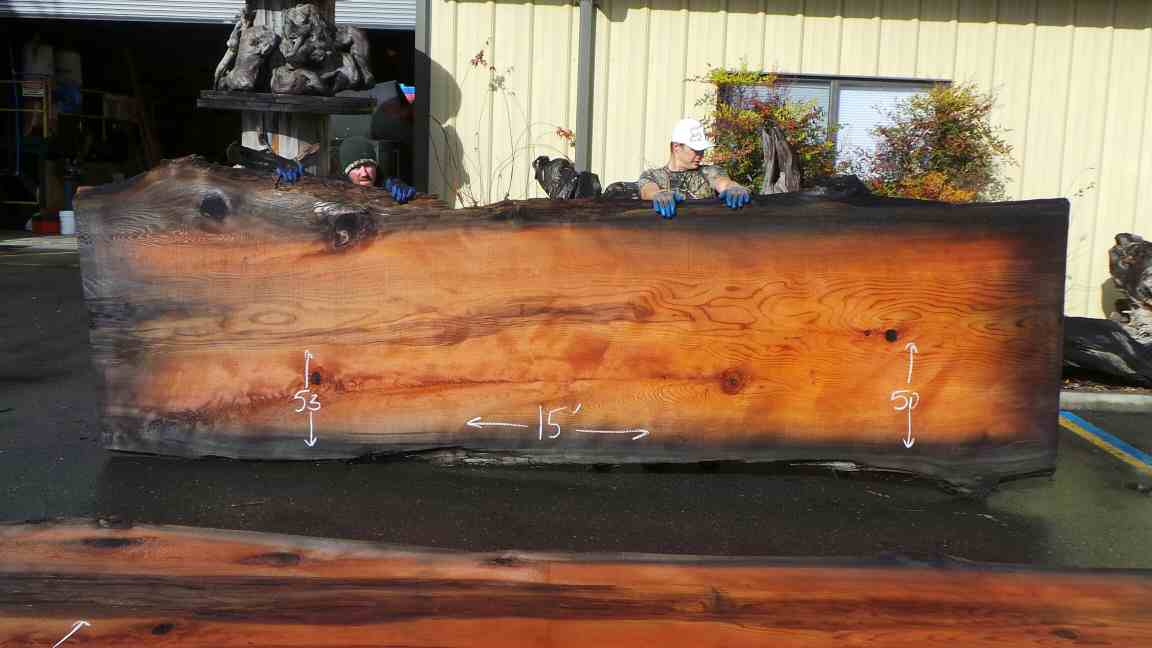 Redwood Mineral Stained Wood Table - Darkened Log for Tabletop