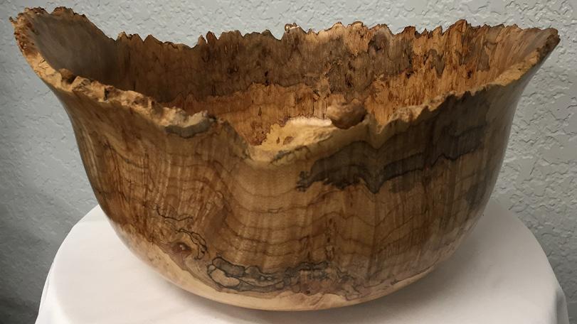 Live Edge Maple Wood Bowl - Hand Carved Handmade