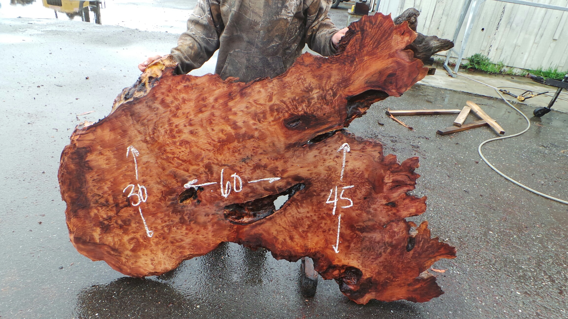 Rough and Raw Live Edge Redwood Slab