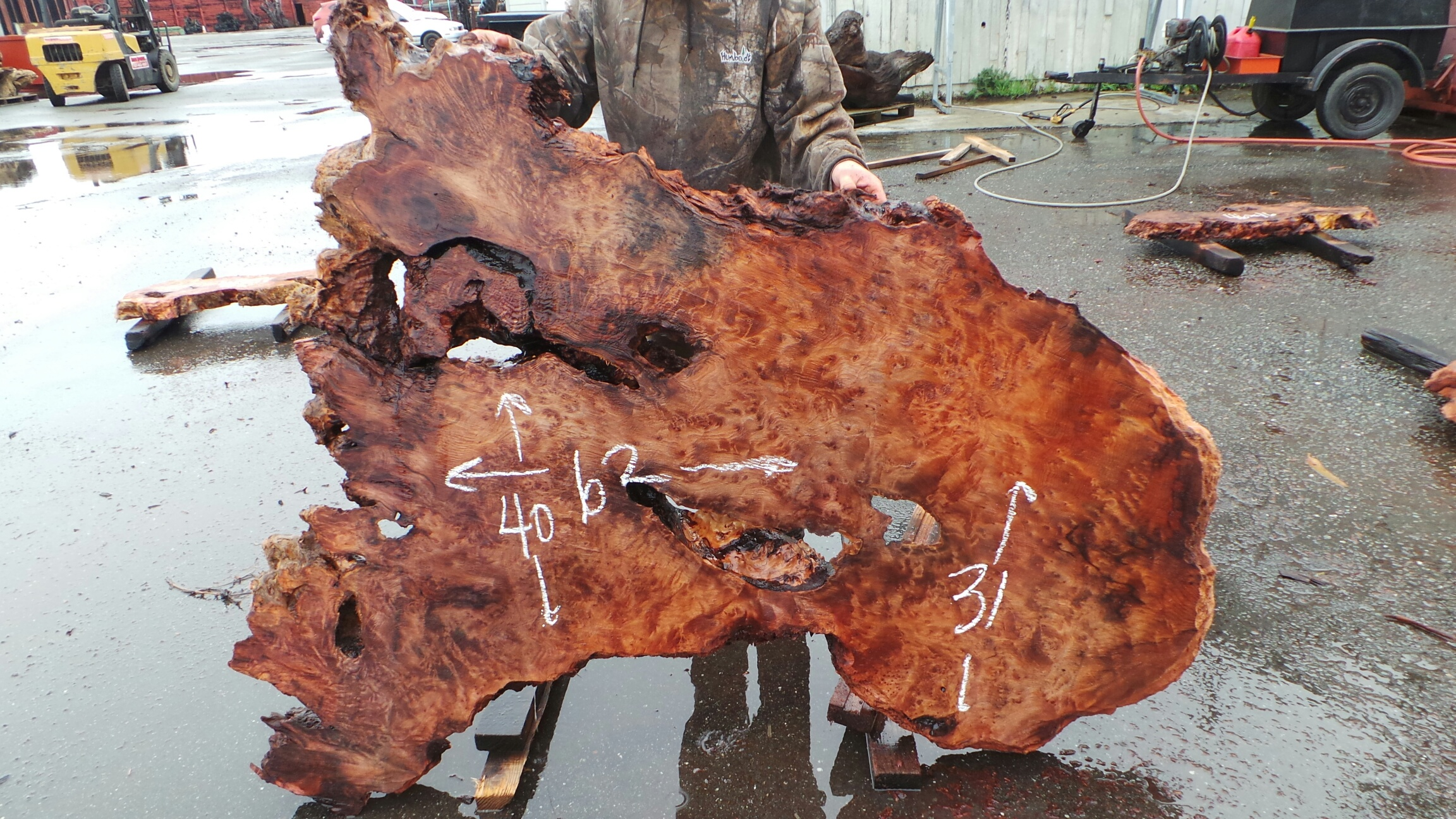 Swirled with Burl Grain Redwood Burl Slab