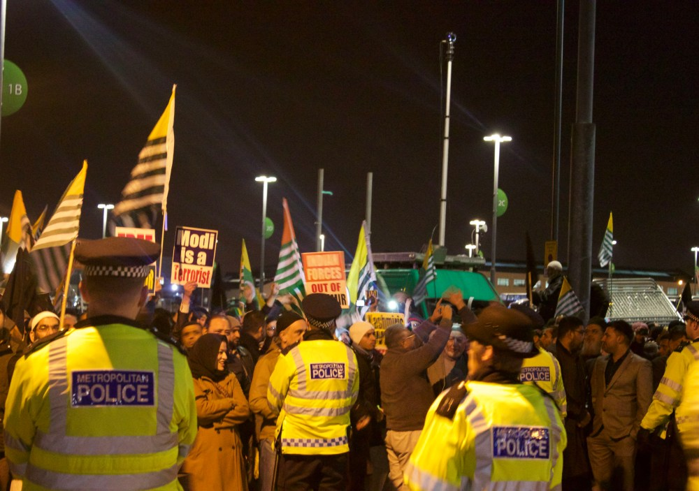Indian Prime Minister Modi Greeted By Protesters At Wembley On His UK Visit (3/6)