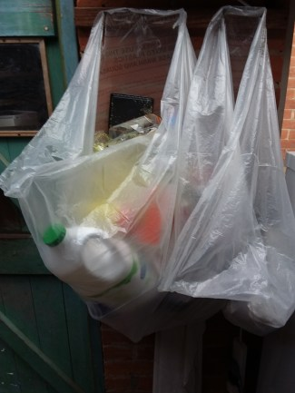 Recycling bags in use