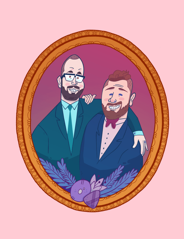 Portrait gay couple in decorative frame