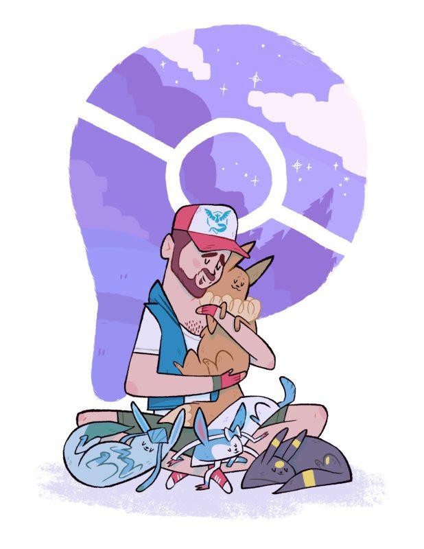 Colorful cartoon portrait with sleeping pokemon