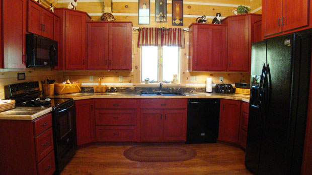 Hand Crafted Solid Cherry Stained Cabin Red Kitchen Cabinets Shank