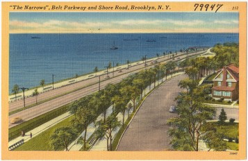 The Narrows - Belt Parkway and Shore Road, Brooklyn, Postcard (source: http://bit.ly/1dR6J45)