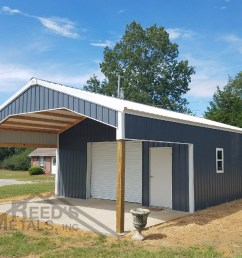 charcoal gray polar white 24x26x10 enclosed pole barn with 12x24x10 roof extension tu  [ 1000 x 800 Pixel ]