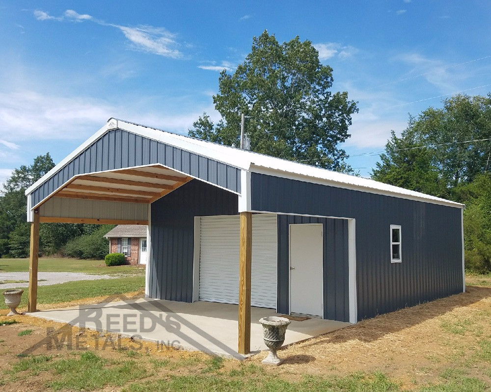 medium resolution of charcoal gray polar white 24x26x10 enclosed pole barn with 12x24x10 roof extension tu