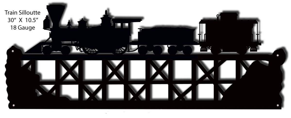 Train Silhouette Laser Cut Out Of Metal 10 5 215 30