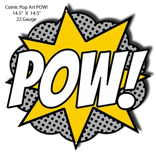 POW Comic Pop Art Laser Cut Out Nostalgic Metal Sign 14 5x14 5