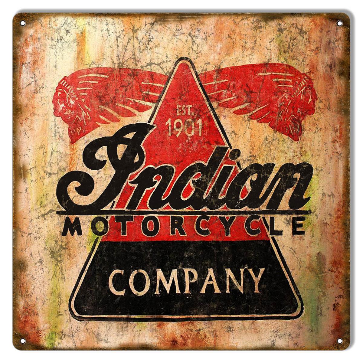 Indian Motorcycle Company Est 1901 Vintage Metal Sign 12