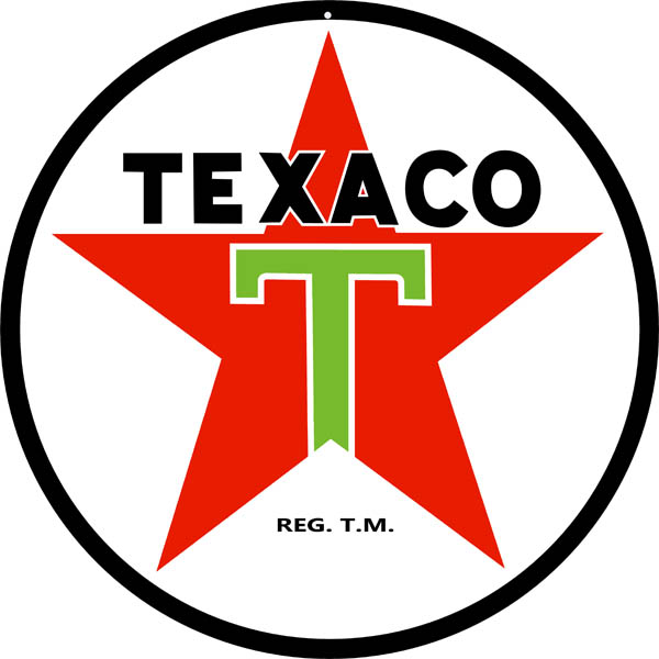 Texaco Motor Oil Reproduction Garage Shop Metal Sign 18x18 Round