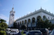 """Passengers arriving in Sochi after 36 hours on the train from Moscow would have been welcomed, after 1952, at this train station. Its architecture combines an earlier monumental style with vaguely Islamic elements, says Koenker. """"It doesn't look like any other train station anywhere else in the Soviet Union."""" Photo by Diane Koenker."""