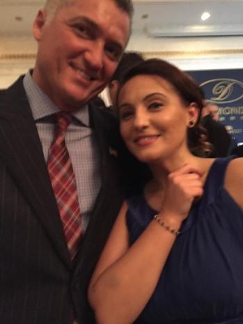 Venera Bekteshi with Giorgio Kolaj, one of Kosova's most successful entrepreneurs, Co-Founder and President of Famiglia Pizzeria.