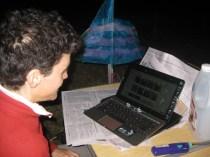 Rosalie blogging by torch light