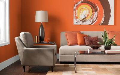 living room colors orange wall light different paint interior painted bold colours fill brown sofa beige grey energy reel positive