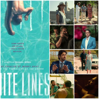 Photo montage of 9 photos. Left main  photo: official Netflix poster for White Lines; Other photos show characters Zoe, David, Marcus, Anna, Boxer, Mike, Andreu Calafat, Oriol Calafat, Marcus, Yuri, Boxer