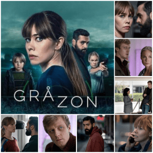 Photo montage of scenes and poster from Greyzone
