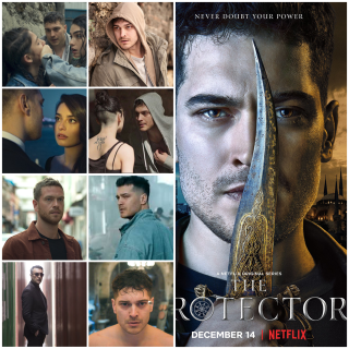 Photo montage of The Protector to the right poster with 8 photos from seasons 1-3 set to the left.