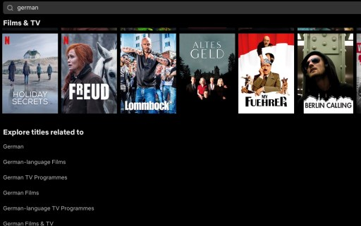 Image shows search page and results from Netflix with German speaking films and TV
