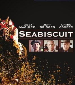 Image shows theatrical poster of the horse movie Seabiscuit