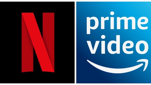 Image shows Netflix logo left and Prime Video logo right