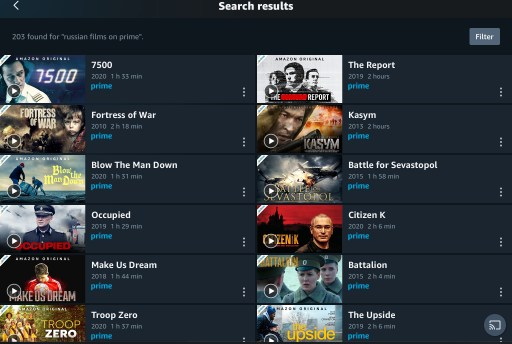Image shows search page results from Prime Video for Russian films