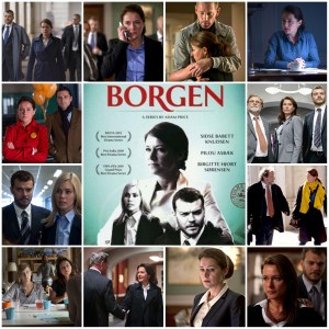 Image shows scenes from Borgen. The central image is the theatrical poster for the show.