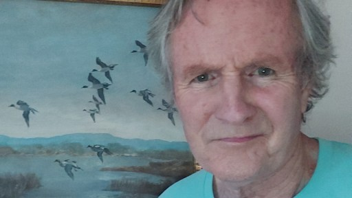 Image shows Alistair Findlay standing to the right of a painting with seagulls and coastline.