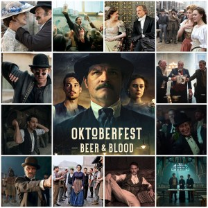 Image shows montage of scenes from Oktoberfest: Beer & Blood on Netflix. Centre is the theatrical poster.
