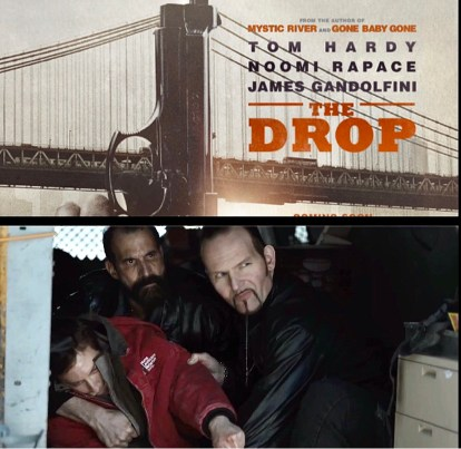 Top of image: poster of The Drop Bottom of image: scene from The Drop with Alex Ziwak