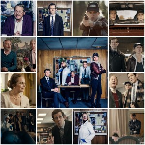Image shows scenes from Fallet on Netflix. Central photo is a publicity shot of the main cast members of the show.