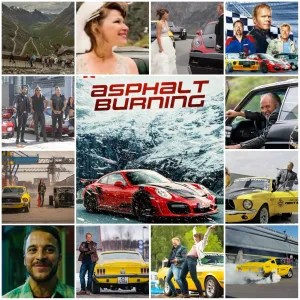 Image shows photo montage of scenes from Asphalt Burning. Central image is of a theatrical poster for the movie, featuring a Porsche in the mountains.