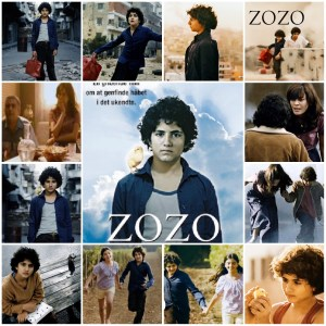 Image shows photo montage of scenes from the film Zozo. The central image is the theatrical poster for the movie.