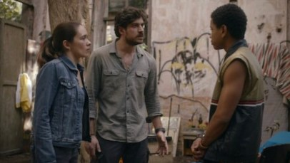 Image shows a scene from Invisible City with right: Márcia, centre Eric, left Isac/Saci