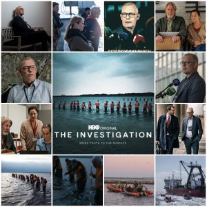 Image shows scenes from The Investigation. Centre is the HBO theatrical poster for the show