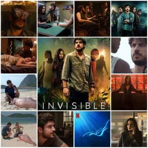 Image shows scenes from the Brazilian Netflix show Invisible City. Centre image is the theatrical poster for the show.