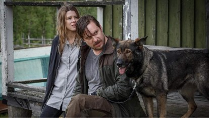 Rebecka (left) Krister (centre) and Tintin the dog (right)